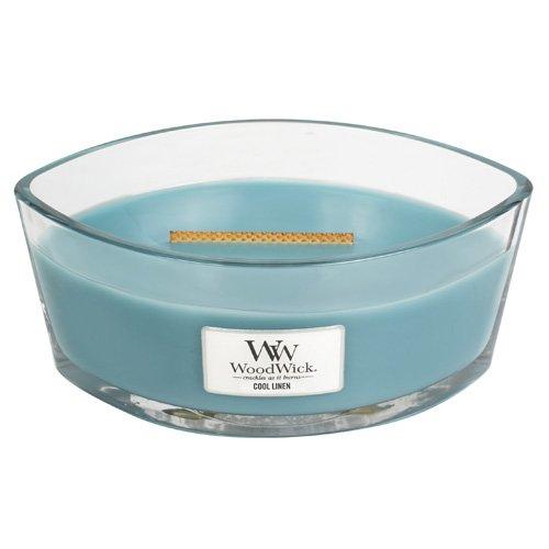 Leinen Duftkerze (WoodWick 76095EU Kühle Leinen Duftkerze in Elliptischem Glasgefäß mit Heartwick Holzdocht 453.6 g, Glas, Blau, 11.7 x 19.2 x 9.1 cm)