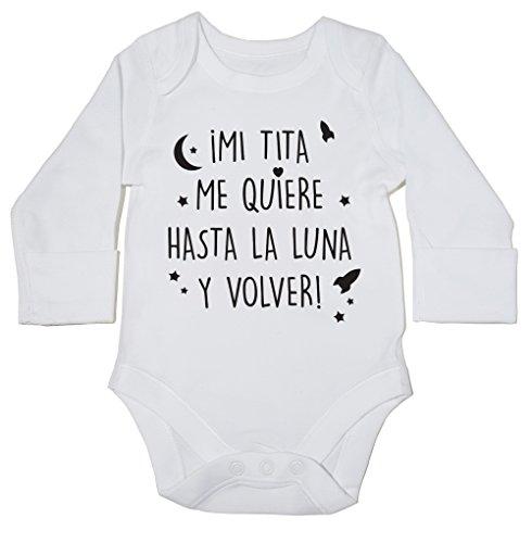 HippoWarehouse ¡Mi tita me quiere hasta la luna y volver! momento body manga larga bodys pijama niños niñas unisex
