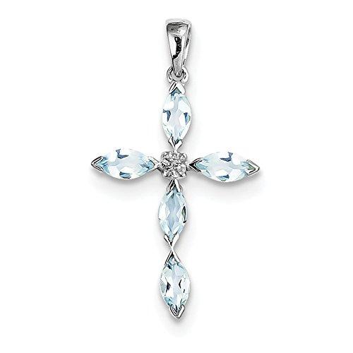 Lex & Lu LAL109008 Kreuz-Anhänger Sterling-Silber 925 rhodiniert Aquamarin Diamant (Aquamarin-kreuz-anhänger)