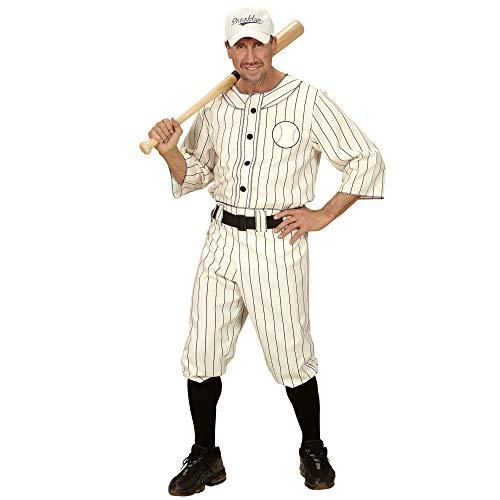 Widmann 49493 - Erwachsenenkostüm Baseball Spieler, Shirt, Hose mit Gürtel und Kappe, weiß, Größe L
