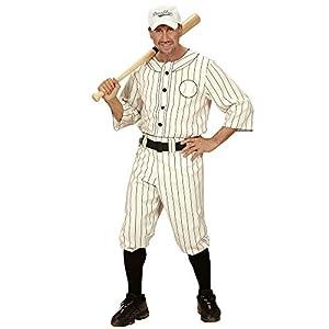 WIDMANN 49492 - traje adulto del vestido de lujo, Camisa, Pantalón con la correa y la tapa del jugador de béisbol, blanca