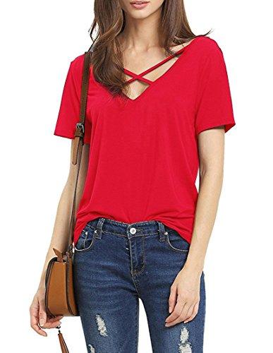 Damen Sommer Kurzarm T-Shirt V-Ausschnitt mit Schnürung Vorne Oberteil Tops Bluse Shirt-REM (Rem-shirt)