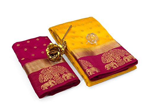 Most Beautiful Orange WIth Yellow Tree -Elephant BOrder Tussar Silk Saree With...