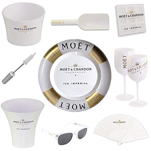 Moet & Chandon Ice Imperial Schwimmende Champagner Bar - Schwimmreifen mit Luftpumpe und Tablett Floating Bar inkl. Sonnenbrille + Accessoire Set (Limited Edition)