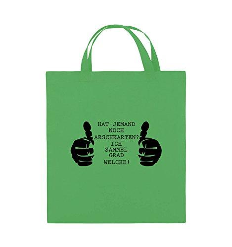 Comedy Bags - HAT JEMAND NOCH ARSCHKARTEN - Jutebeutel - kurze Henkel - 38x42cm - Farbe: Schwarz / Silber Grün / Schwarz