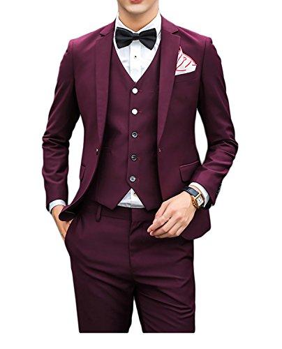 Uomo Monopetto Slim Fit un bottone tre pezzi tuta da uomo con gilet matrimonio feste Wine Red M