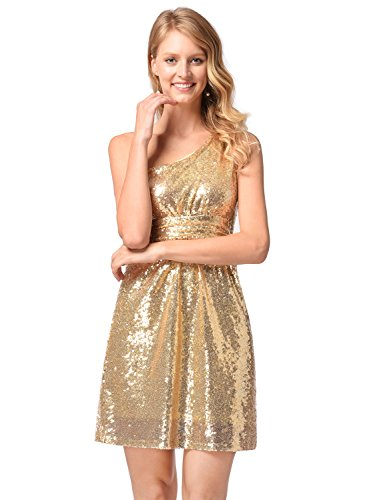 Ruiyige Damen Sexy One Shoulder Gold Pailletten Brautjungfer Kurze Kleider Gold S (Zusammen Pailletten-kleid)