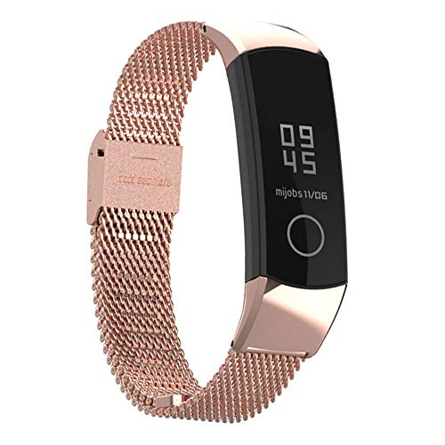 Guangmaoxin Uhrenarmband für Huawei Honor Band 4, Metall Solid Edelstahl Watch ArmBänder mit Wechselarmband Watch Band für Huawei Honor Band 4 Smartwatch (Rose Gold)