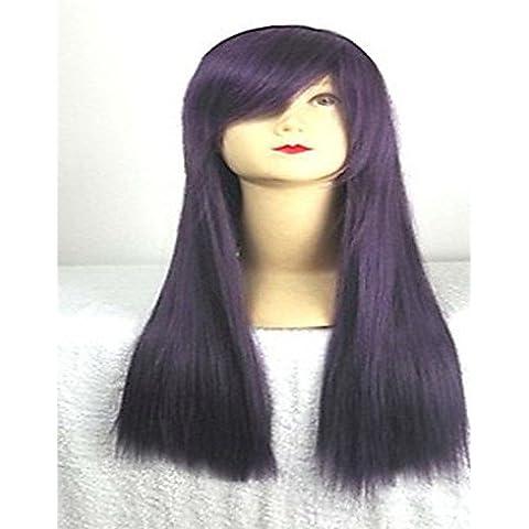 peluca cosplay púrpura con la explosión lateral de 80 cm de largo pelo sintético pelucas pelucas traje de la historieta de la niña para el , 32 inch-purple