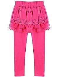 Leggings Niñas con Falda - Pantalones Chico Legging largo Pantalone Baile Primavera Otoño Invierno Para 2-13 Años Café Armada Azul Rosa Rojo Mxssi