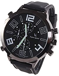 Reloj de hombre - V6 Reloj de pulsera banda de silicona de Acero de Cuarzo de esfera super grande guapo de hombre Blanco