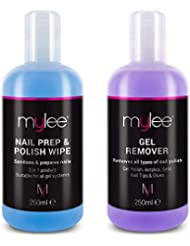 Mylee Nail Gel Polish Prep & Wipe + Gel Remover 250ml Each, Premium Salon Quality UV LED Manicure Pedicure Acetone Remover, for All Nail Polish Types, Dual Purpose For Cleansing Tacky Layer