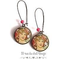 Orecchini Cabochon, pittura d'arte, alfons mucha, ritratto di donna, romantico, toni rosa