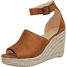 Cuñas para Mujer Sandalias Hebilla Zapatos de Tacón Boca de Pescado Grueso Alto Zapatillas de Suela