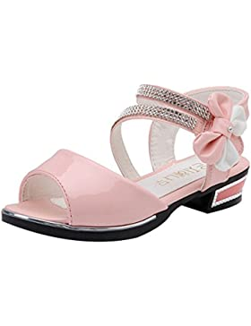 Taiycyxgan Mädchen Sommer Schuhe Sandalen Kinder Prinzessin Bogen Schuhe Schöne Lackschuhe Studentschuhe Gr.27-37