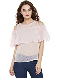 Miss Chase Women's Pink Ruffled Cold Shoulder Top