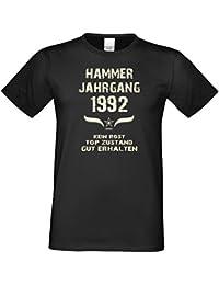 Modisches 25. Jahre Fun T-Shirt zum Männer-Geburtstag Hammer Jahrgang 1992 Farbe: schwarz