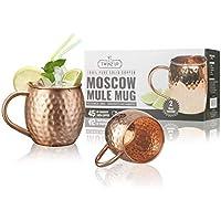Moscow Mule Kupfer Becher - 2 Kupfertassen Twinz'Up - Gehämmert und handgefertigt - 45cl Fassungsvermögen - Großartig für jedes gekühlte Getränk - Perfektes Geschenk für Damen & Herren (Mugs - Tasse)