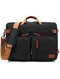 CoolBELL Bolso de hombro convertible en mochila para guardar ordenadores portátiles. Maletín de negocios multi funcional. Mochila de viaje para guardar ordenadores portátiles de 17,3 pulgadas (43,9 cm.)Unisex (Negro)