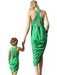 Madre Hija verano sin mangas verde vestido de playa de arena Familia a juego