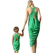 Madre e Figlia Estate Senza Maniche Verde Sandy Beach Dress Famiglia  abbinabili 89b61134aa0