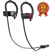 Auriculares Inalámbricos Bluetooth 4.1- vsllcau Auriculares Deportivos Con Micrófono Sonido Estéreo para Correr con AptX y Manos Libres para iPhone7, Sony, HUAWEI, XIAOMI etc - Color Negro y Rojo