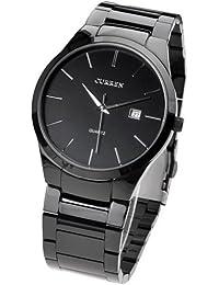 Curren SMT113B - Reloj para hombres, correa de acero inoxidable color plateado