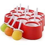 Mini clásico de hielo Pop moldes reutilizables BPA del helado de paleta fabricante de moldes fijados, de 9 (rojo)