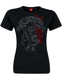 Sons of Anarchy Reaper & Roses Girlie Shirt Club de Bikers Charming Biker Mode Été Noir