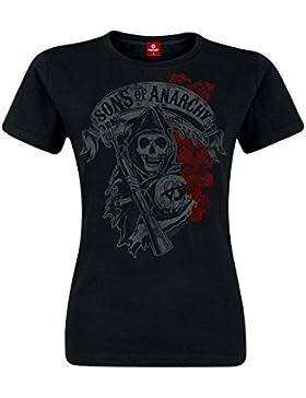 Sons of Anarchy Hijos de La Anarquía Reaper y Rosas Femenina de La Camiseta del Club con Encanto Ciclistas de...