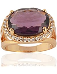 Sanaa Creations Gold Plated Purple Diamond Ring For Girl's And Women's