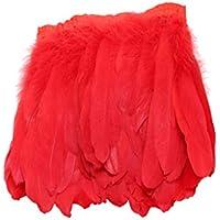 Pluma Decoración para Trajes Ropa Franja Accesorios Hermosos para Bricolaje Costura Rojo