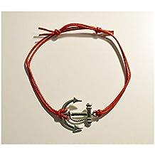 Pulsera Pendientes y Colgante Plata de Ley 925, Diseño de Día de San Valentín/Cordón Encerado Rojo
