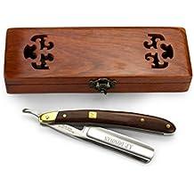 """A.P. Donovan - Profesional de 7/8 """"de afeitar - mango de madera de caoba, la cuchilla no inoxidable, fáciles de afilar, con estuche de madera"""