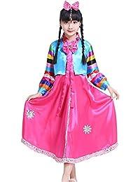 1f19bbed1 BOZEVON Vestido Tradicional Coreano - Vestido Hanbok Clásico De Manga Larga  Y con Adornos De Colores