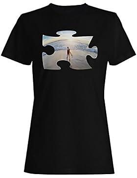 Rompecabezas playa imagen regalo sueño surf camiseta de las mujeres d876f