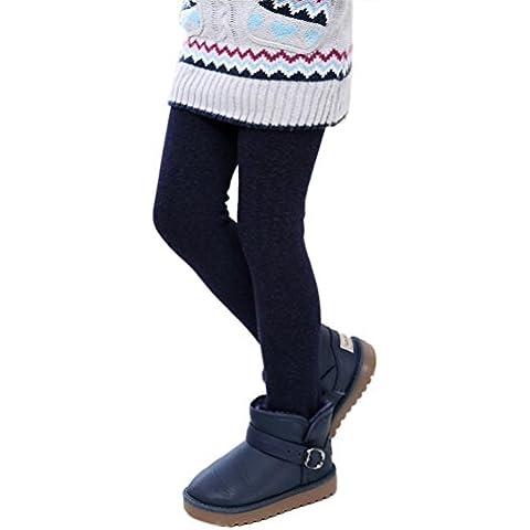Per 2-12 anni,Amlaiworld Inverno ragazze Pantaloni Leggings caldo spessore elastico in vita (blu marino, S)