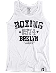 Boxing 1974 Brooklyn Tank Top. Vest. Thumbsdown Gym. New York Boxing Club. Thumbsdown Last Fight. Gladiator Bloodline. Martial Arts. Fightwear. Training. Casual. Gym. MMA T-shirt
