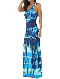 Vestidos Mujer Verano Elegante de Maxi Vestir sin Mangas Largos de para Playa Fiesta,Imprimir