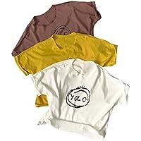 HK La Camiseta de Manga Corta de los Niños del Algodón de la Impresión de la Moda de la Camisa de los Niños del Verano,Blanco,110cm