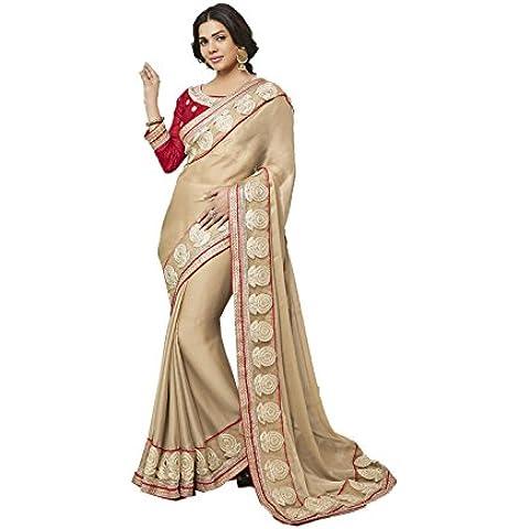 DaFacioun Indian Women Designer Party wear Cream Saree Sari