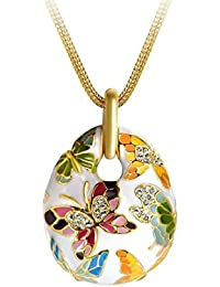 Yellow Chimes Crystals from Swarovski Queen of Versailles Enamel Crystal Pendant for Women and Girls