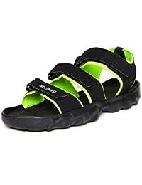 Reebok Men's Ultra Chrome Black & Neon Green Sandals & Floaters