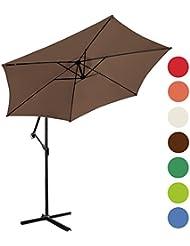 Parasol déporté avec manivelle - Marron - Ø 3 m - 2,55 m (H) – avec support pour dalles – polyester résistant à l'eau – DIVERSES COULEURS AU CHOIX