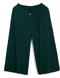 BoBoLily Damen Breites Bein Hosen Elastische Taille mit Tunnelzug Fashion  Elegante Freizeithose Unifarben Plissee Bequeme Lightweight 21acadbc2a