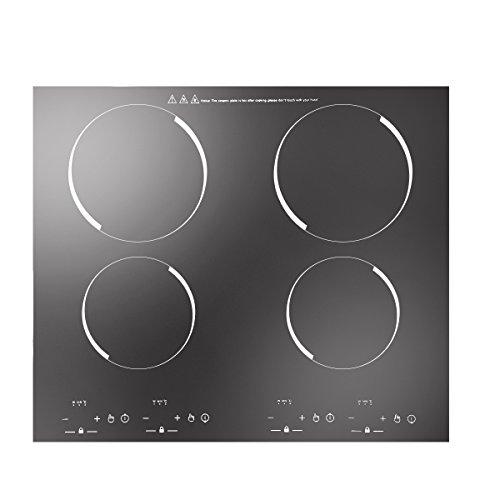 6000W 4 Ring Elektrohobel,cerankochfeld 4 platten,Infrarot-Kochplatten,Eingebaut und freistehend,Schwarzes Glas,C43