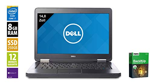 Dell Latitude E5440 Notebook | 14 Zoll Display | Intel Core i5-4310U @ 2,0 GHz | 8GB DDR3 RAM | 250GB SSD | DVD-Brenner | Windows 10 Pro vorinstalliert (Generalüberholt)
