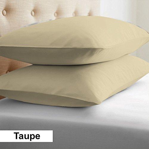 2-Piece- Euroshams ~ Solid Pattern 100% Pima Cotton 500 Thread- Count European Super Soft 2 PC Pillow Cases (32 x 32 Inch (81cm x 81cm ) , Taupe) by Linen Store