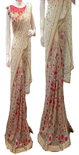 Sunshine Fashion Women\'s Nylon Embroidered Saree with Blouse Piece - SUNSA683_Cream_Free Size