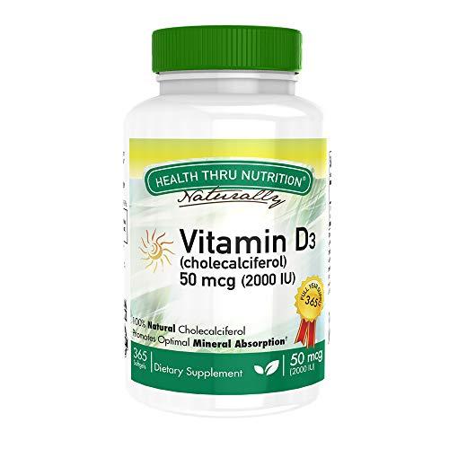 Vitamina D3 2000 IU (50 mcg), 365 Mini Capsule morbide, priva di soia, non OGM, priva di glutine, vitamina naturale D (365)